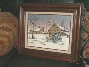 C. Carson Old Tydol Gas Station Painting Framed