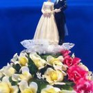 Wedding Cake Topper Yellow & Pink with Bride & Groom