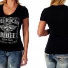 Liberty Wear Short Sleeve American Rebel Top With Stud Rhinestones - Biker