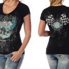 Liberty Wear Short Sleeve Ride Route 66 With Stud Rhinestones - Black - Biker