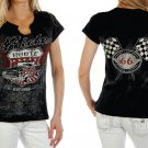 Liberty Wear Short Sleeve Ride Route 66 With Stud Rhinestones - Black