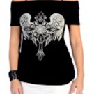 Women's Celtic Cross Angel Off The Shoulder Spaghetti Strap Top With Rhinestones