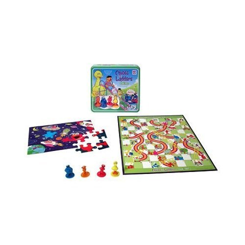 Chutes and Ladders Sesame Street Edition in Collectible Metal Tin