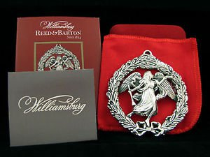 2012 Reed & Barton Williamsburg Angel in Wreath Sterling Ornament New