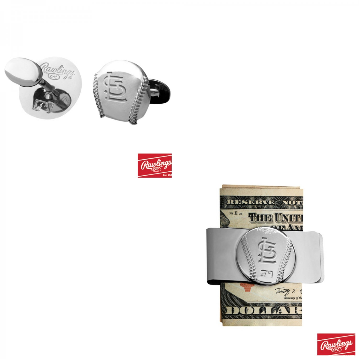 THE Great Gift ! St Louis Cardinals, Cuff Links � Money Clip
