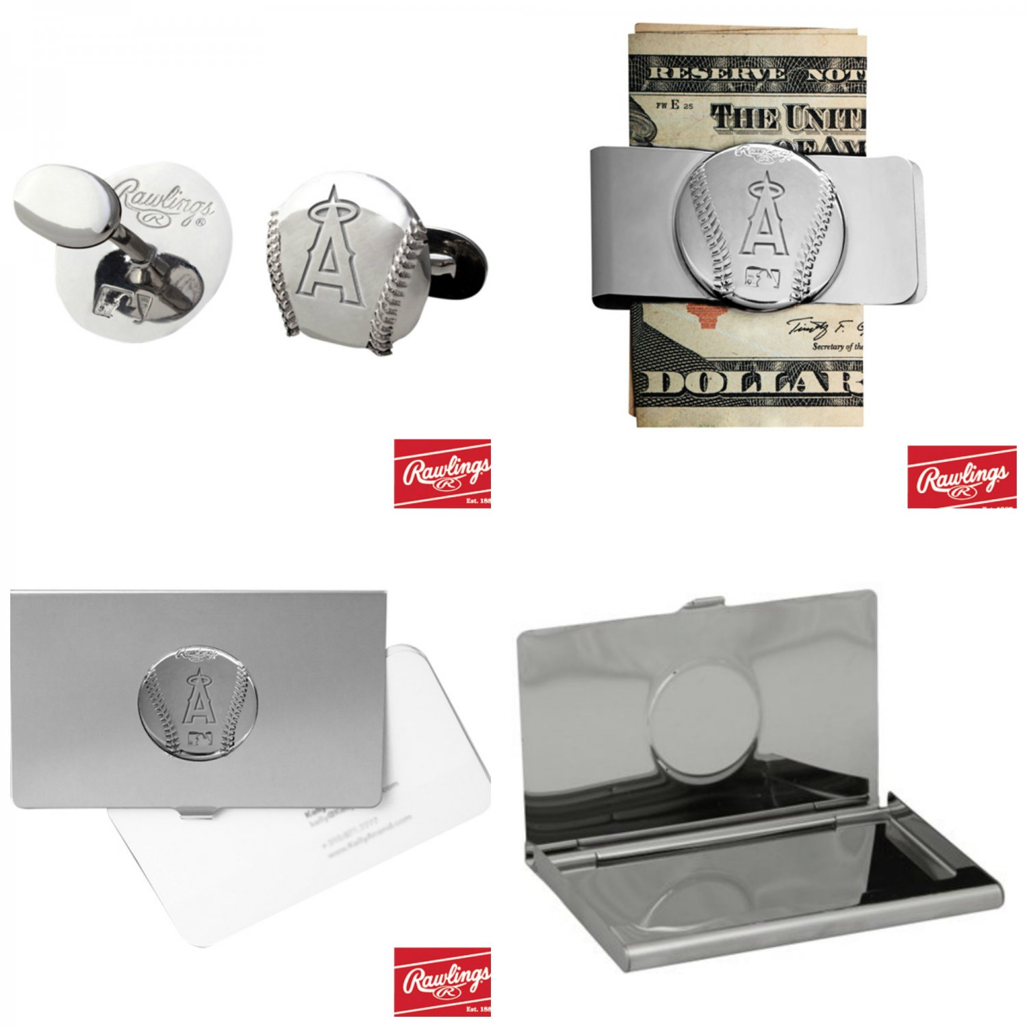THE Perfect Gift ! Los Angeles Angels � Cuff Links � Money Clip � Business Card Holder