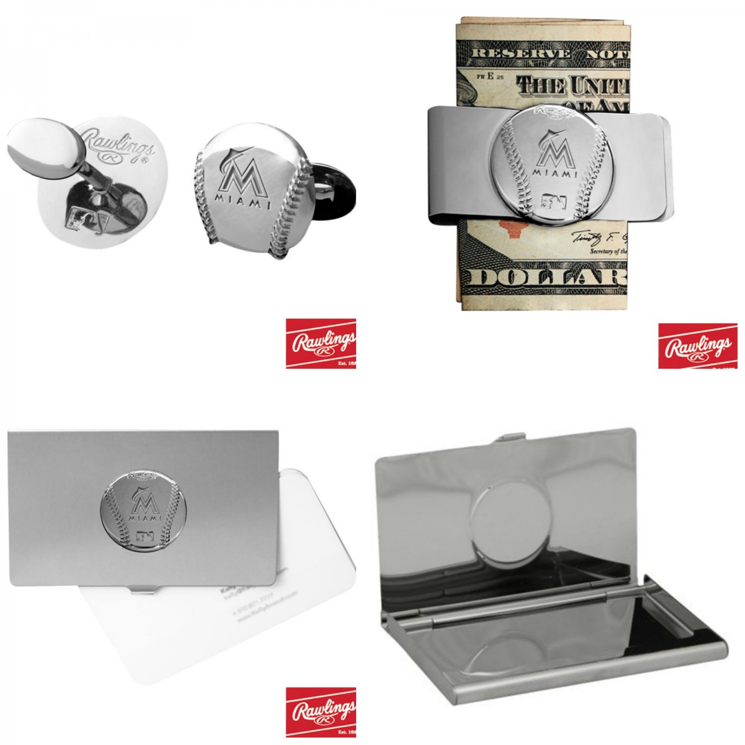 THE Perfect Gift ! Miami Marlins� Cuff Links � Money Clip � Business Card Holder