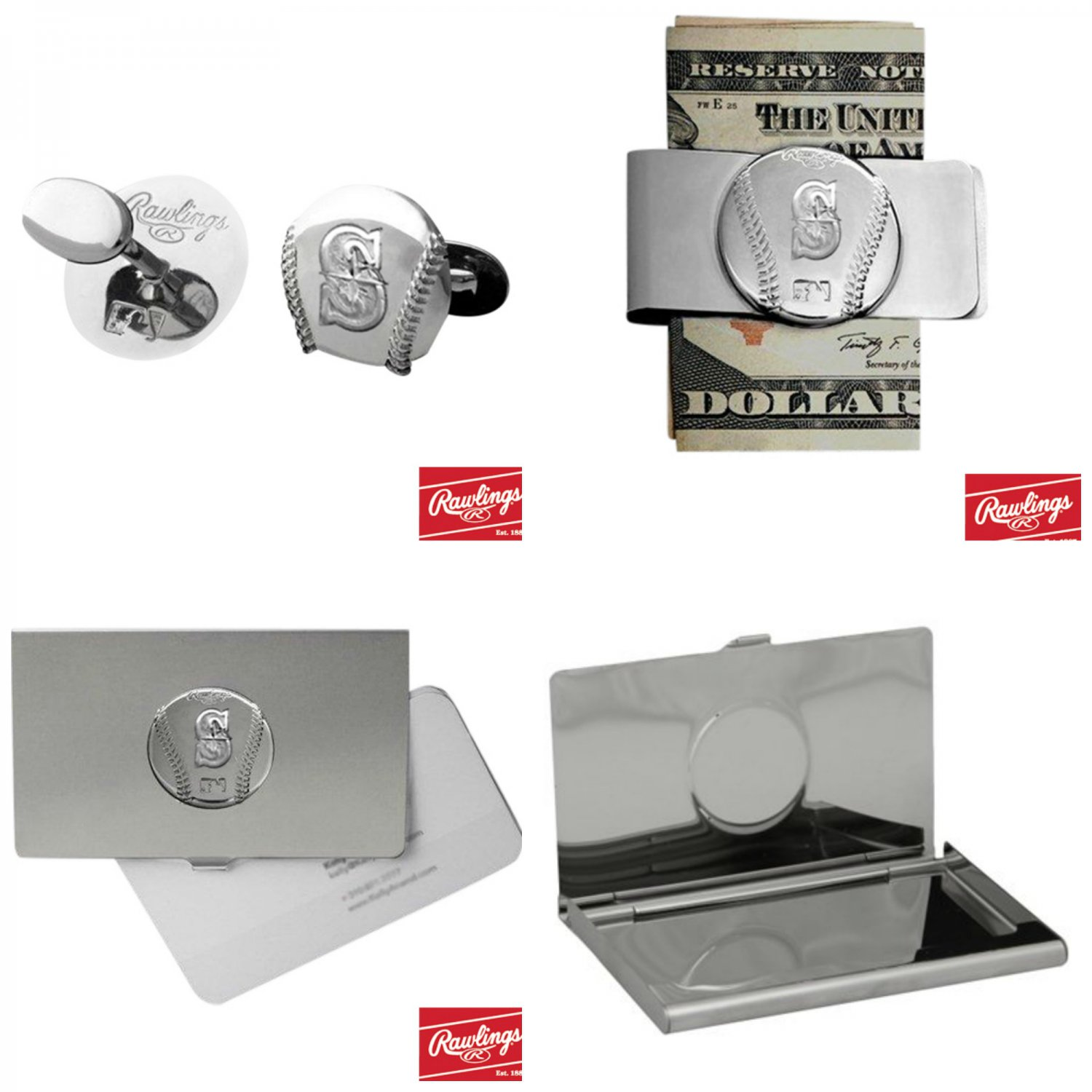 THE Perfect Gift ! Seattle Mariners� Cuff Links � Money Clip � Business Card Holder