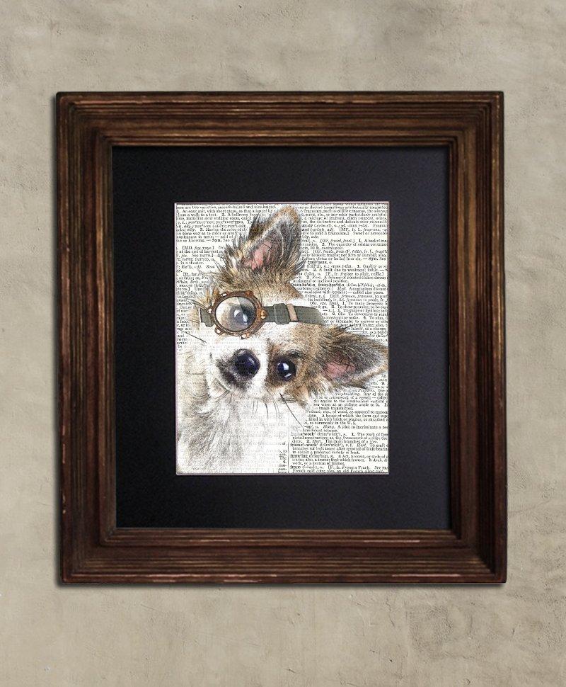 Dictionary Print: Courteous Chihuahua, Steampunk Dog, Dog Art Print