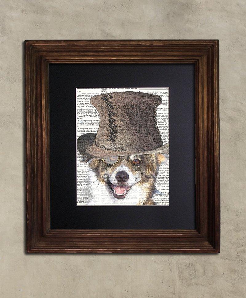 Dictionary Print: Charismatic Mixed Breed Dog, Steampunk Dog Art Print