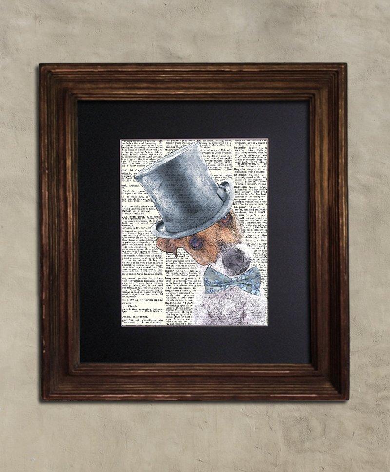 Dictionary Print: Dapper Jack Russell, Steampunk Dog, Dog Art Print