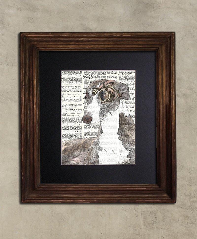 Dictionary Print: Triumphant Whippet, Steampunk Dog Art Print
