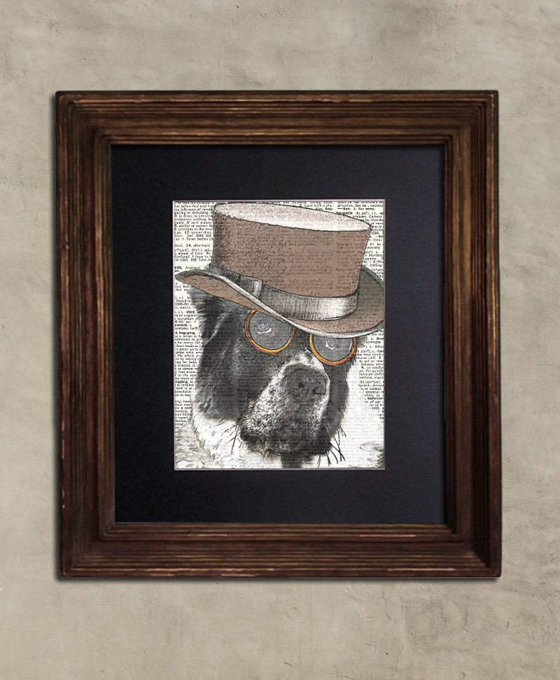 Dictionary Print: Ardent Asian Shepherd in Glasses, Steampunk Dog Art Print