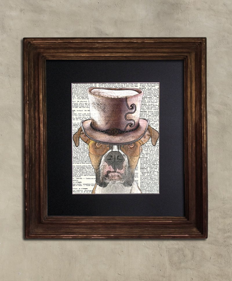 Dictionary Print: Stalwart Boxer in Top Hat, Steampunk Dog Art Print