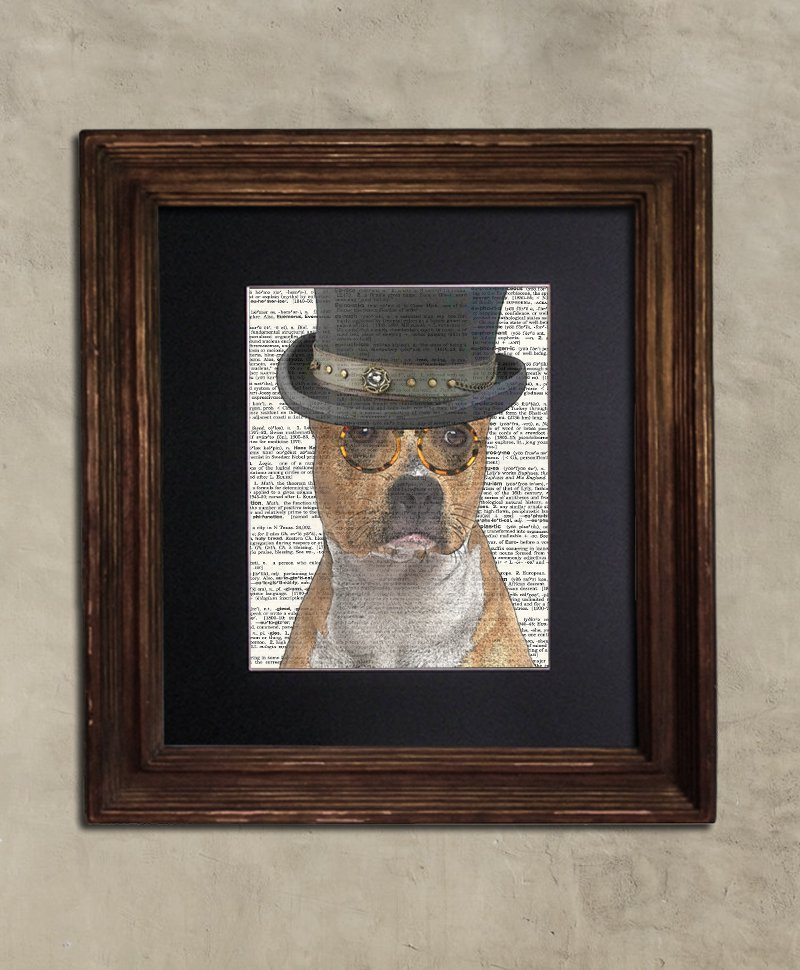 Dictionary: Steampunk Spiffy American Staffordshire Terrier, Dog Art Print