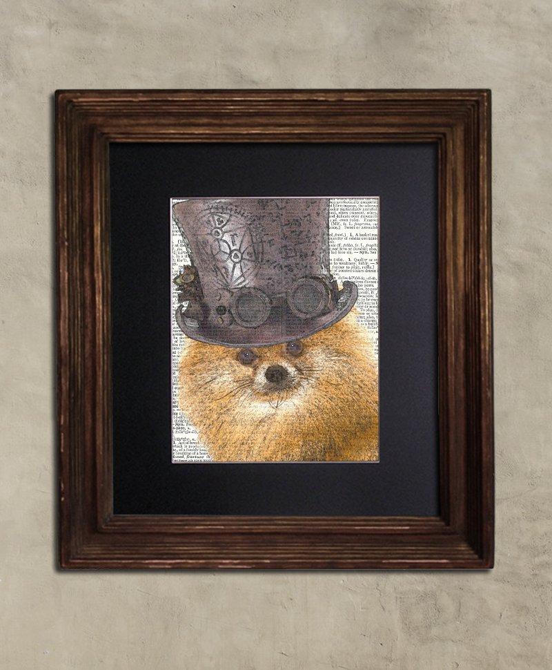 Dictionary Print: Illustrious Pomeranian, Steampunk Dog Print, Art Print