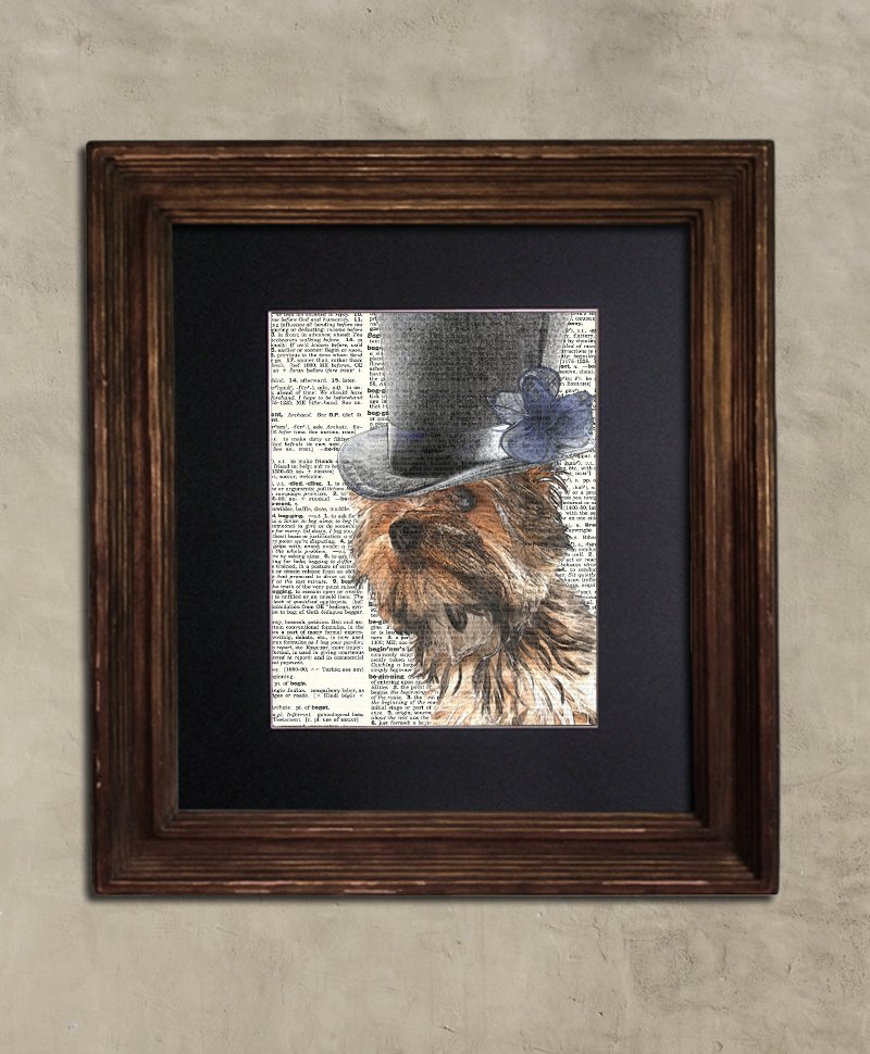 Dictionary Print: Jocular Yorkie, Steampunk Dog Print, Art Print