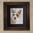 Dictionary Print: Clever Australian Cattle Dog in Steampunk Glasses, Dog Art Print