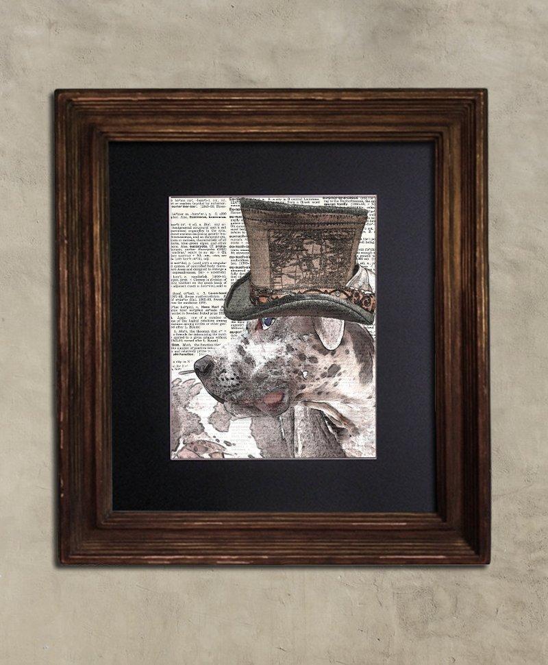 Dictionary Print: Veracious Great Dane, Steampunk Dog, Dog Art Print