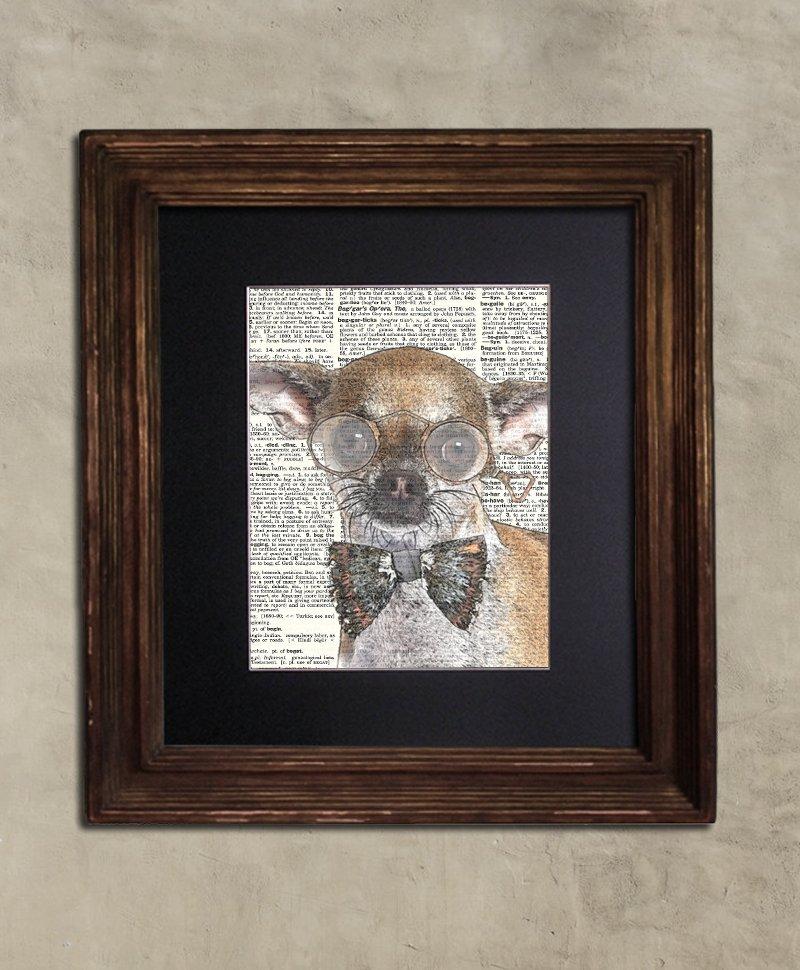 Dictionary Print: Impish Chihuahua, Steampunk Dog, Dog Art Print