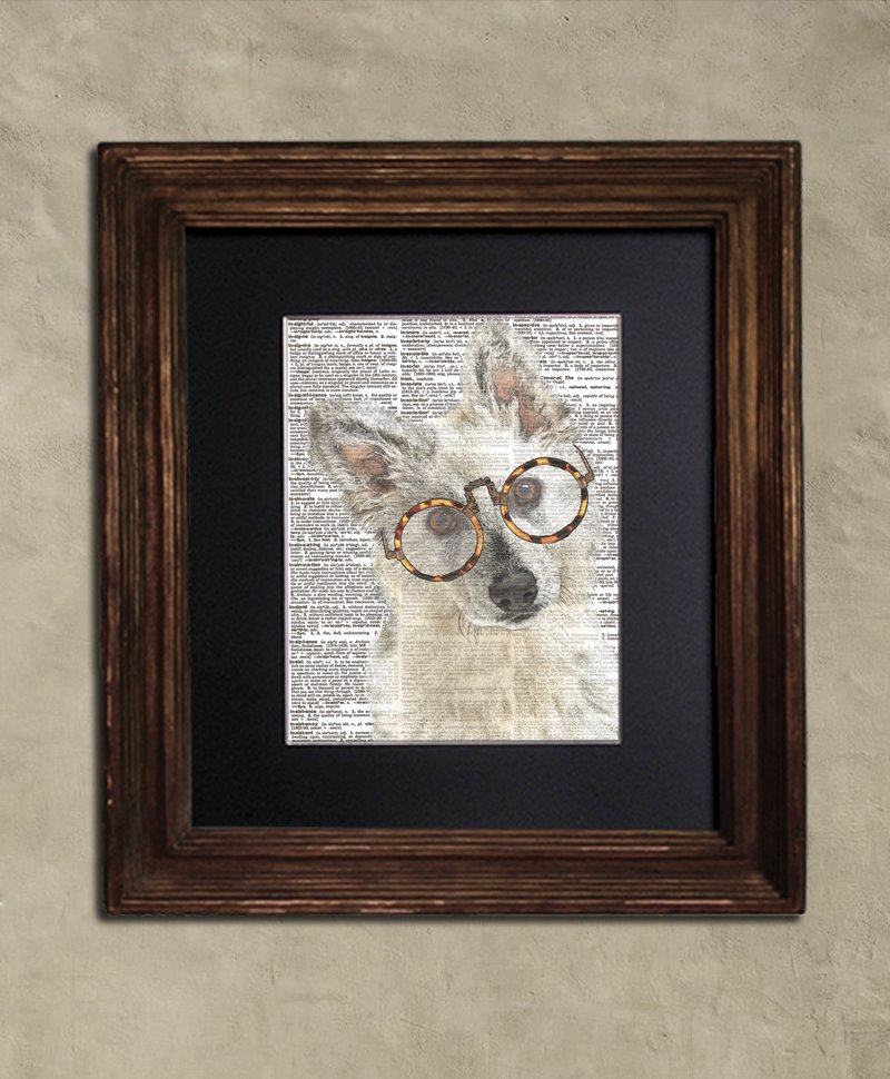 Dictionary Print: Blissful Swiss Shepherd in Steampunk Glasses, Dog Art Print