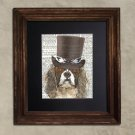 Dictionary Print: Dandy King Charles Spaniel, Steampunk Dog, Dog Art Print