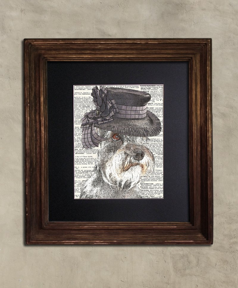 Dictionary Print: Gracious Schnauzer, Steampunk Dog Art Print