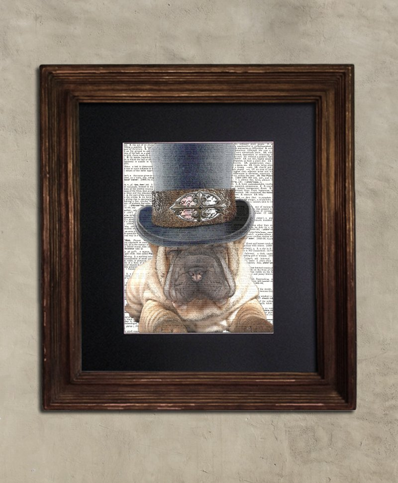 Dictionary Print: Frenzied Sharpei in Tophat Steampunk Dog Art Print