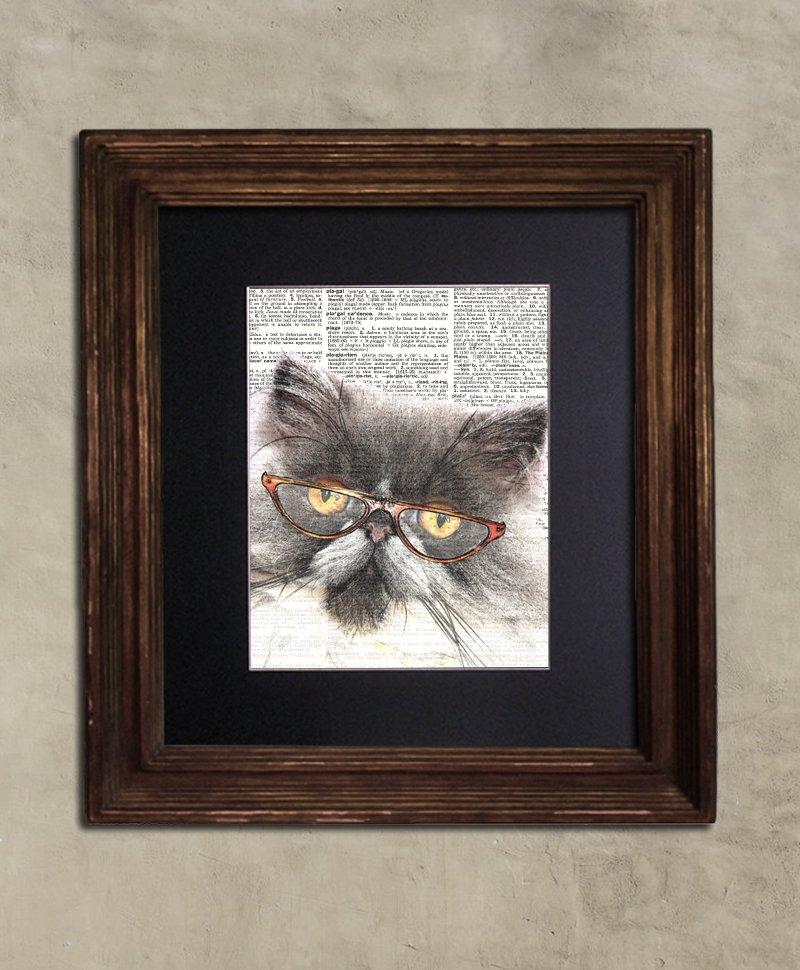 Dictionary Print: Frolicsome Persian Cat in Vintage Eyewear, Steampunk Cat Art Print