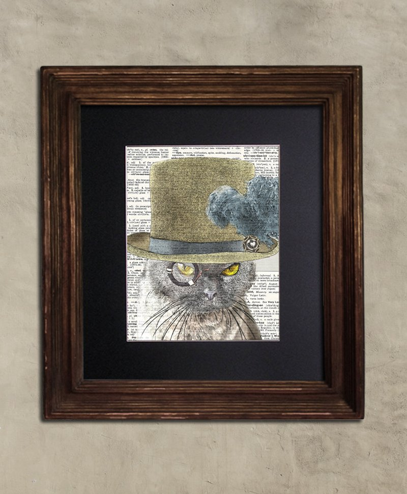 Dictionary Print - Cat Art: Trenchant British Shorthair Cat in Top Hat, Steampunk Cat Art Print