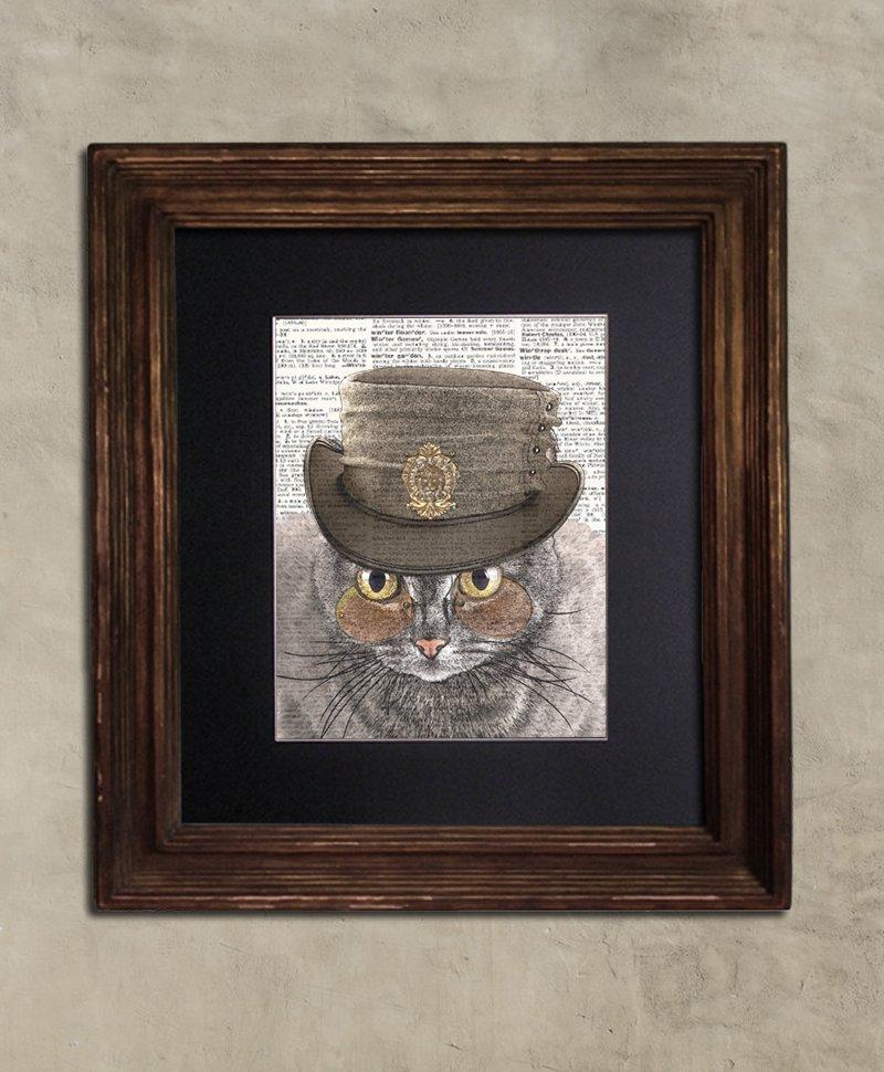 Dictionary Print: Devious Striped Tabby Cat, Steampunk Cat Art Print