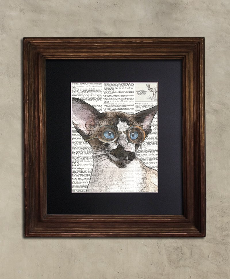 Dictionary Print - Cat Art: Astucious Steampunk Siamese Cat in Goggles, Steampunk Cat Print