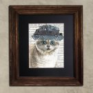 Dictionary Print: Enchanting British Shorthair Cat in Frilly Hat, Steampunk Cat Print
