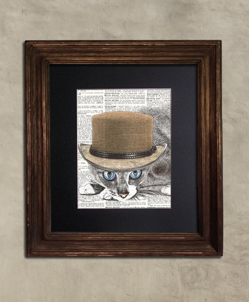 Dictionary Print: Provident Tabby Cat, Steampunk Cat Artwork