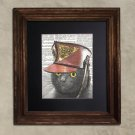 Dictionary Print: Querulous Grey Steampunk Cat, Steampunk Cat Art Print