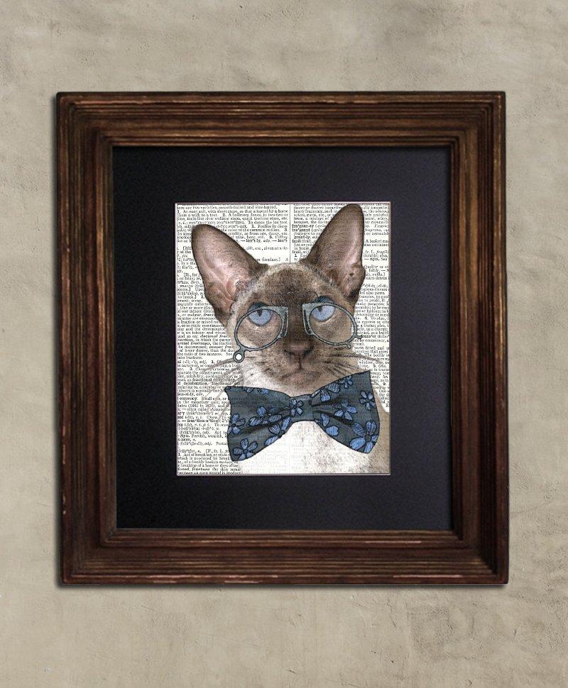 Dictionary Print: Studious Steampunk Siamese, Steampunk Cat Art Print