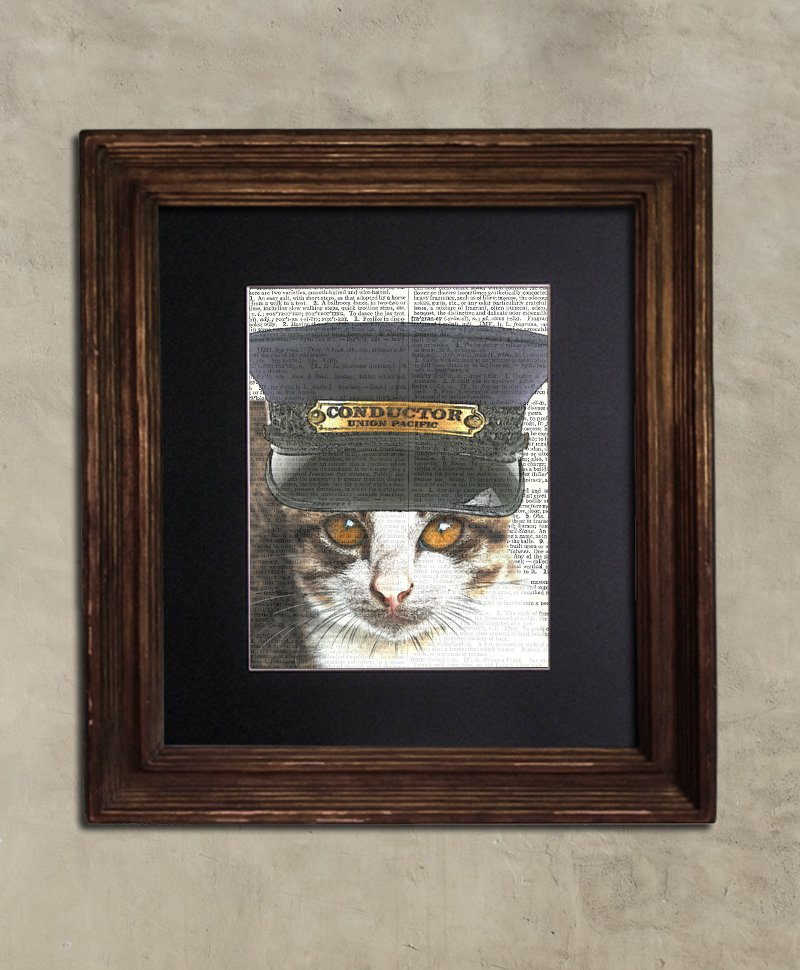 Dictionary Print: Officious Steampunk Tabby Cat, Steampunk Cat Art Print