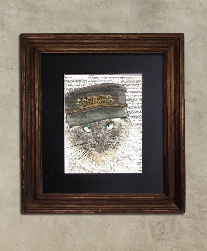 Dictionary Print: Empirical Steampunk Birman Cat, Steampunk Cat Art Print