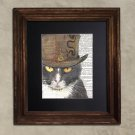 Dictionary Print, Steampunk Cat Print: Watchful Black & White Cat in Top Hat, Steampunk Cat Artwork
