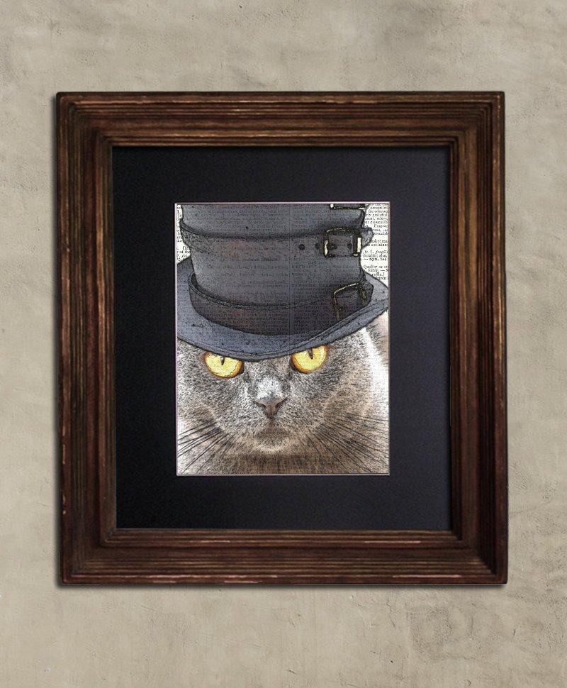Dictionary Print: Reticent Steampunk Scottish Fold Cat in Top Hat, Steampunk Cat