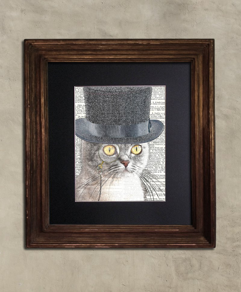 Dictionary Print: Au Courant British Shorthair Cat in Top Hat, Steampunk Cat
