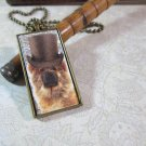 Steampunk Necklace: Brass Rectangle, Steampunk Dog Pendant - Devoted Chow