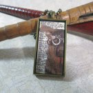 Steampunk Necklace: Brass Rectangle, Steampunk Dog Pendant - Indomitable German Shepherd