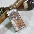 Steampunk Necklace: Brass Rectangle, Steampunk Dog Pendant - Puzzled Mutt