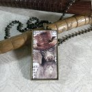 Steampunk Necklace: Brass Rectangle, Steampunk Dog Pendant - Incisive Weimeraner