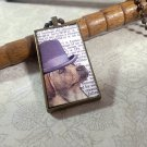 Steampunk Necklace: Brass Rectangle, Steampunk Dog Pendant - Precellent Yellow Labrador