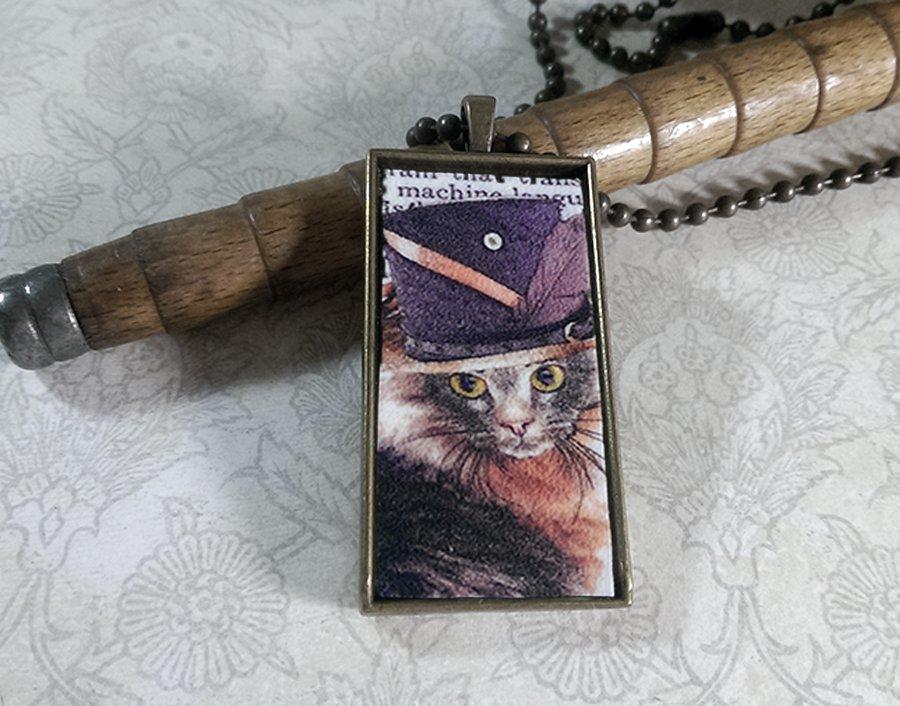 Steampunk Necklace: Brass Rectangle, Steampunk Cat Pendant - Estimable Maine Coon Cat