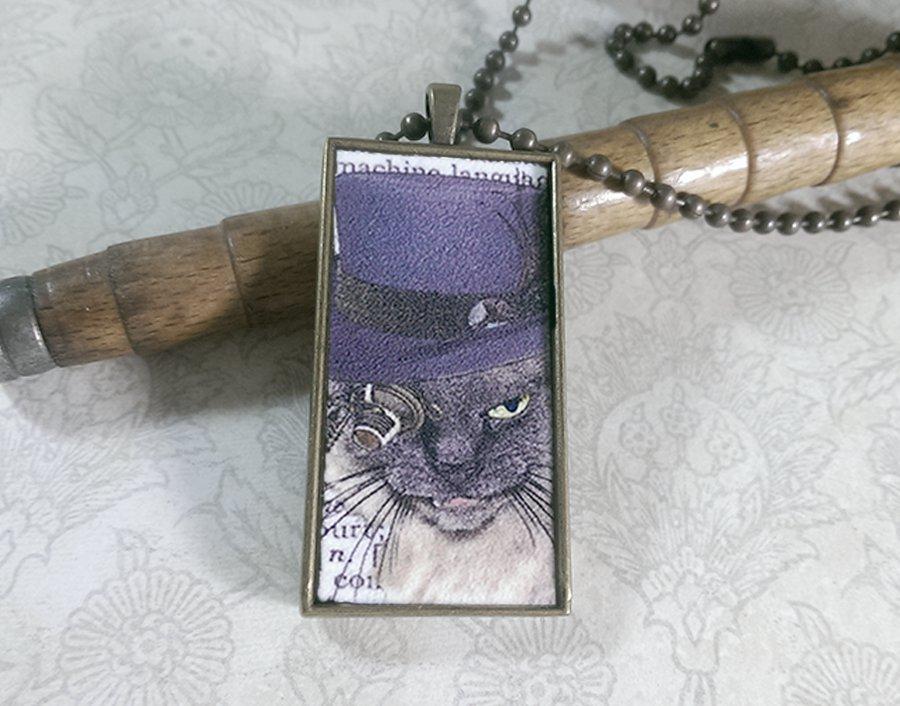 Steampunk Necklace: Brass Rectangle, Steampunk Cat Pendant - Irascible Russian Blue Cat