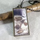 Steampunk Necklace: Brass Rectangle, Steampunk Cat Pendant - Argute Calico Cat