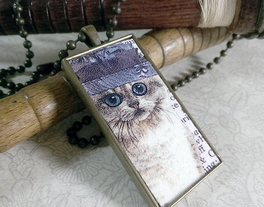 Steampunk Necklace: Brass Rectangle, Steampunk Cat Pendant - Enchanting Persian Cat